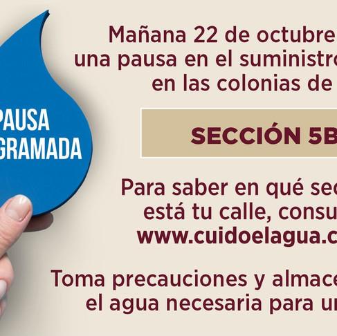 Colonia de la Sección 5B no tendrán servicio de agua el jueves