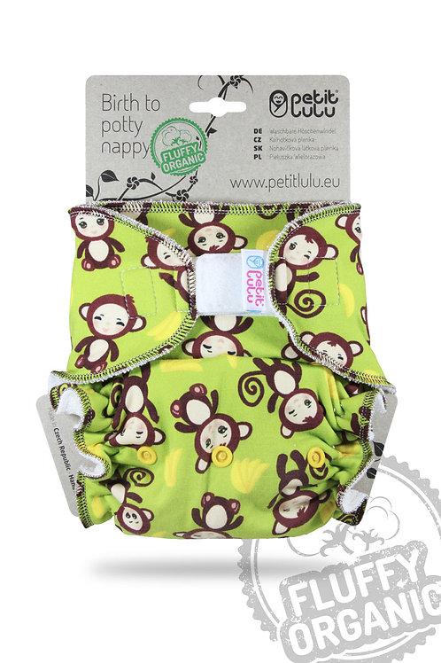 Monkey - Maxi Night Nappy - Fluffy Organic (Hook & Loop)