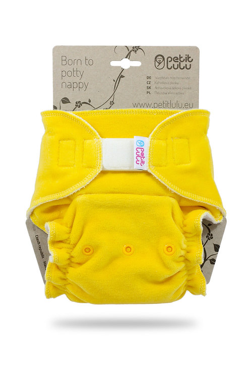 Yellow (velour) - Maxi Night Nappy (Hook & Loop)