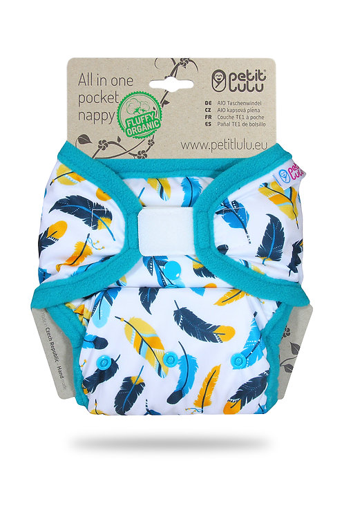 Turquoise Feathers - AIO Pocket Nappy (Hook & Loop)