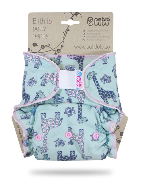 Giraffes (turquoise) - Maxi Night Nappy (Hook & Loop)