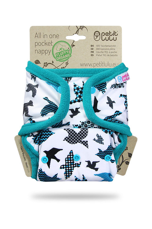 Turquoise Birds - AIO Pocket Nappy (Snaps)