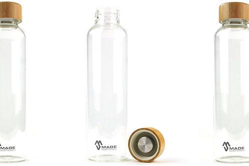 Garrafa reutilizável de Vidro e Bambu 550ml