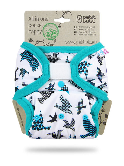 Turquoise Birds - AIO Pocket Nappy (Hook & Loop)
