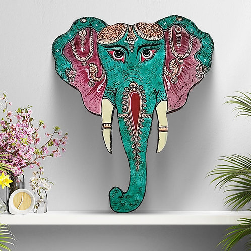 Green Textured Pattachitra Handpainted Elephant Head