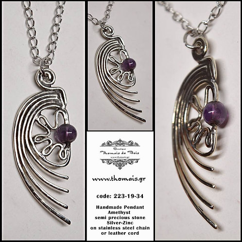 Unique, Handmade Amethyst, Silver, Pendant, Necklace, Stainless Steel Chain