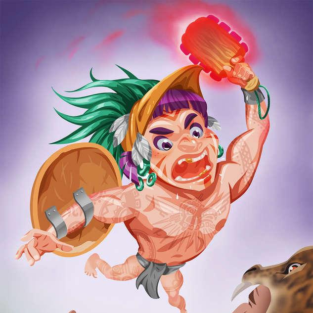 Aztec Warrior in Battle