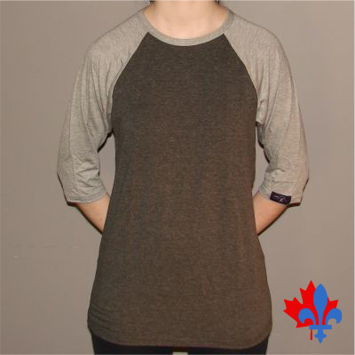 T-shirt manches 3/4, 2 tons - Devant / 3/4 sleeves t-shirt 2 colors - Front