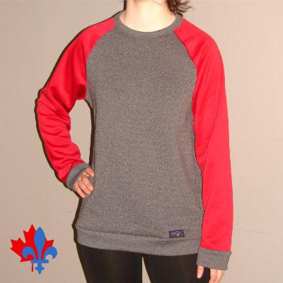 T-shirt manches longues ouaté 2 tons - Devant / Hooded long sleeves t-shirt 2 colors - Front