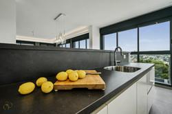 kitchen black counter, sunshine