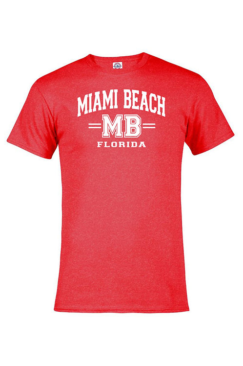 Hether Red Adult T-Shirt Miami Beach MB White ink #9025