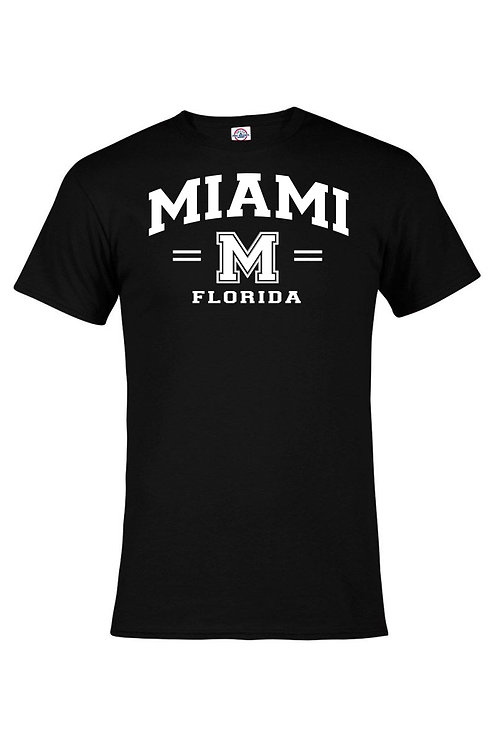 Black Adult T-Shirt Miami M White ink #9025