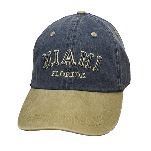 Miami Navy/Khaki #90 Baseball Hat