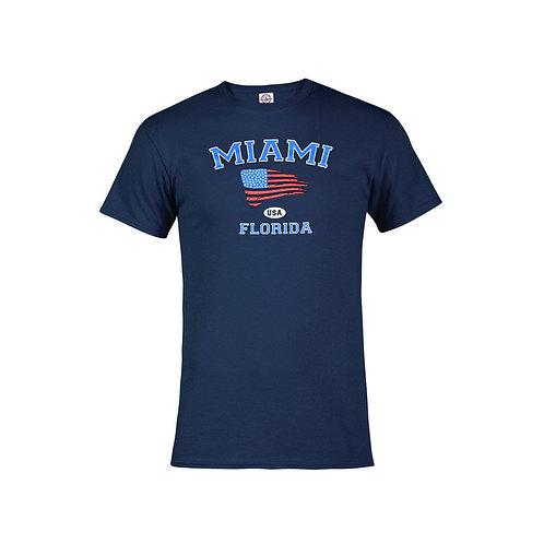 Navy Adult T-Shirt Miami USA Flag #9025