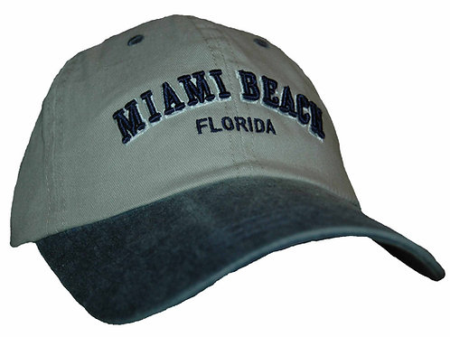 Miami Beach Beige/Navy #25 Baseball Hat