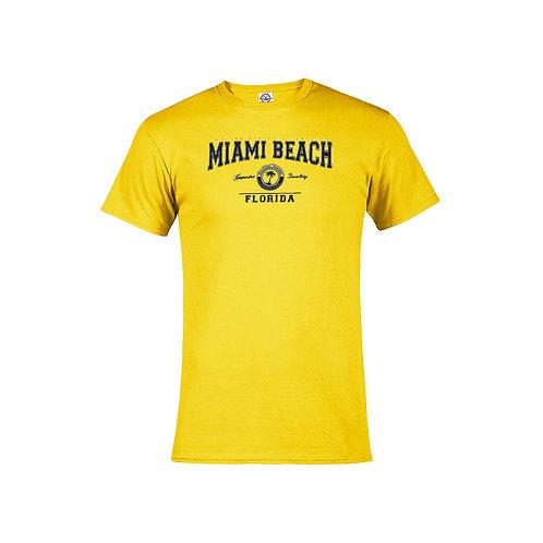 Banana Adult T-Shirt Miami Beach Palm Navy ink #9025