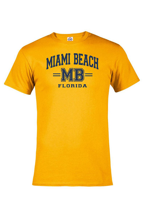 Gold Adult T-Shirt Miami Beach MB Navy ink #9025