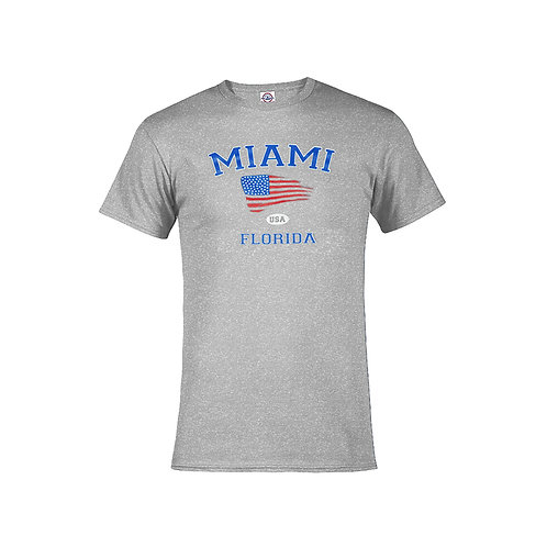 Grey Adult T-Shirt Miami USA Flag #9025