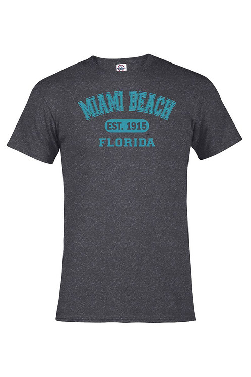Heather Black Adult T-Shirt Miami Beach EST Lt.Blue  ink #9025