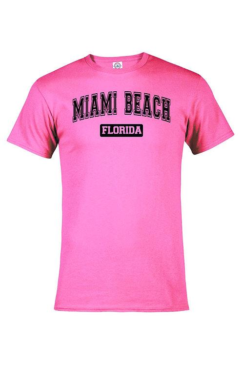 Neon Pink Adult T-Shirt Miami Beach #57 Black Ink#9025