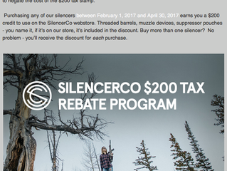 Silencerco $200 Rebate Extended Through June 30, 2017 !