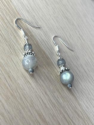 Boucles d'oreilles Labradorite, argent 925
