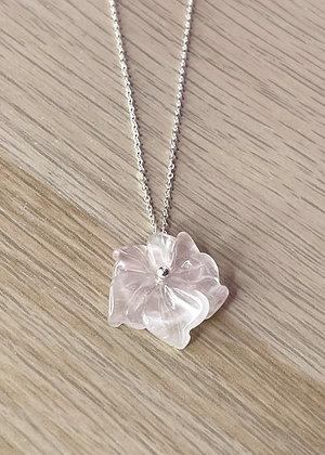 Collier fleur de Quartz Rose et argent