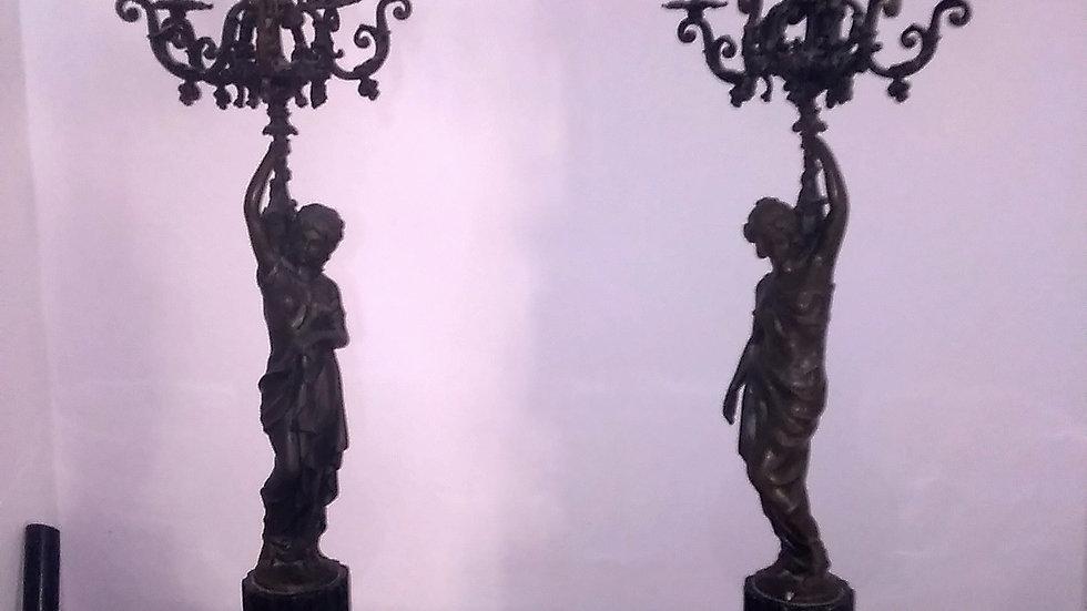 COPPIA DI GRANDI CANDELABRI FRANCESI A 6 LUCI IN BRONZO E MARMO NERO DEL BELGIO