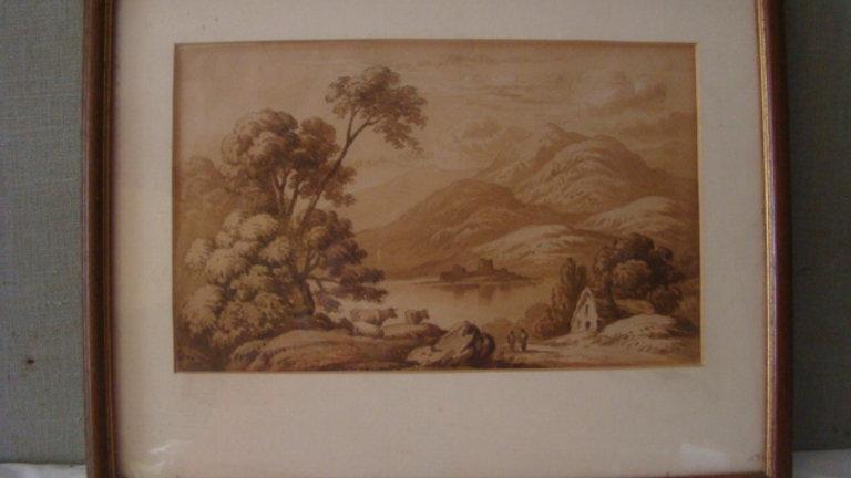 PAESAGGIO MONTANO LACUSTRE CON FIGURE. DIPINTO DELL'800 AD ACQUARELLO/SEPPIA.