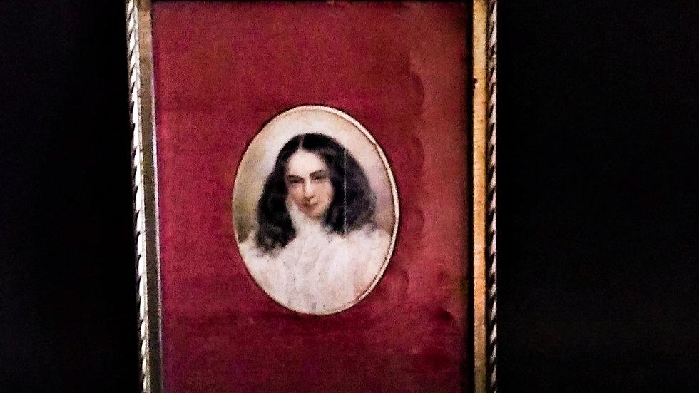 RITRATTO DI ELISABETH BARRETT BROWNING, MINIATURA PASTELLO SU CARTA INIZIXX SEC.