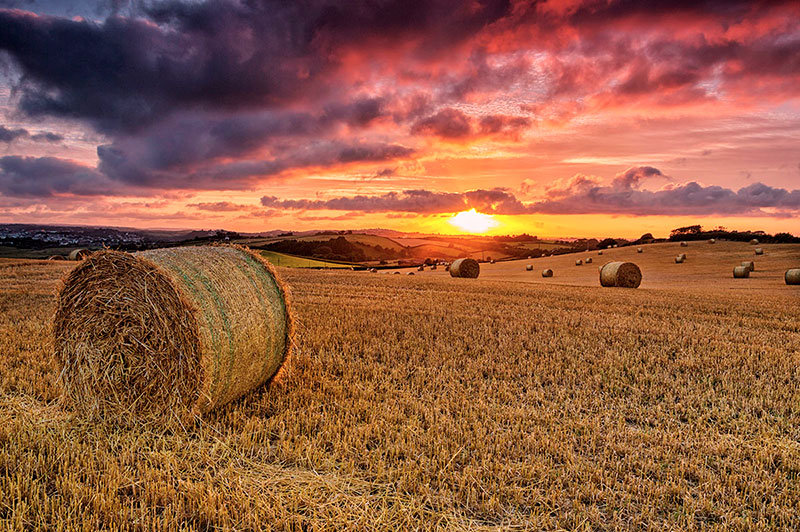 Hay Bale sunset in North Devon