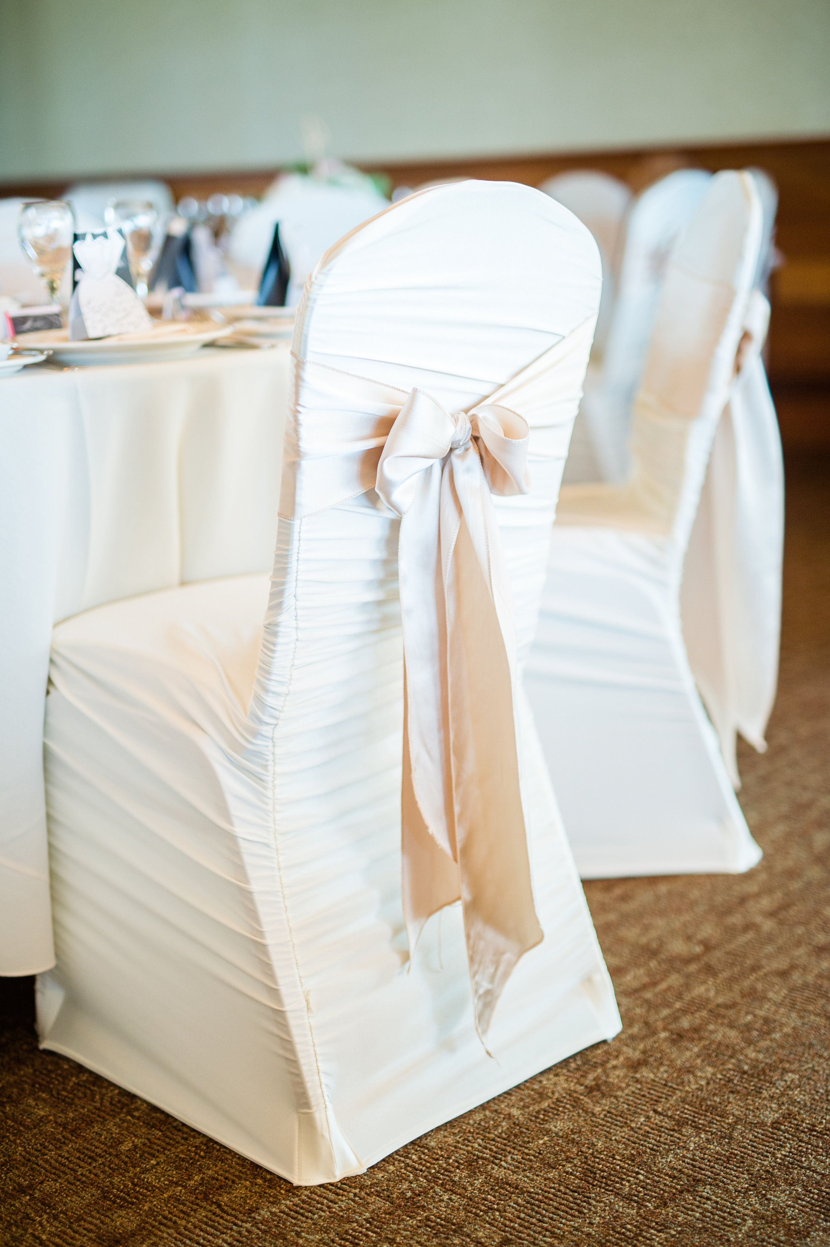 Ivory rouched chair cover