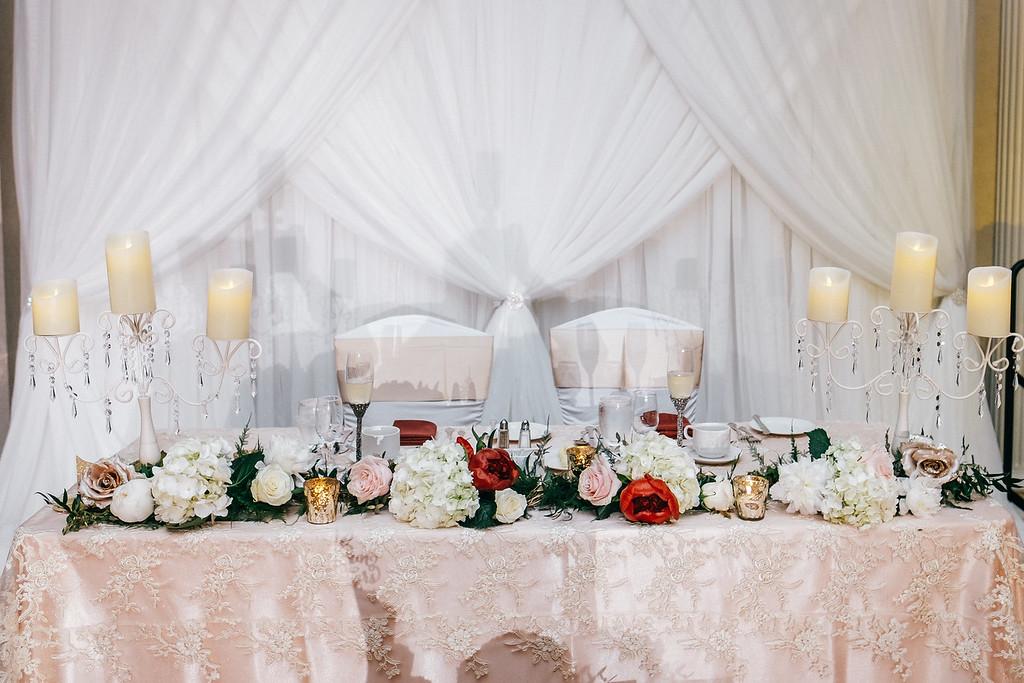 Blush lace head table