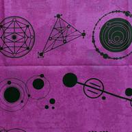 Black crop circles on pink wash