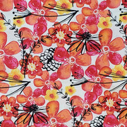 Orange, pink, red, yellow flowers