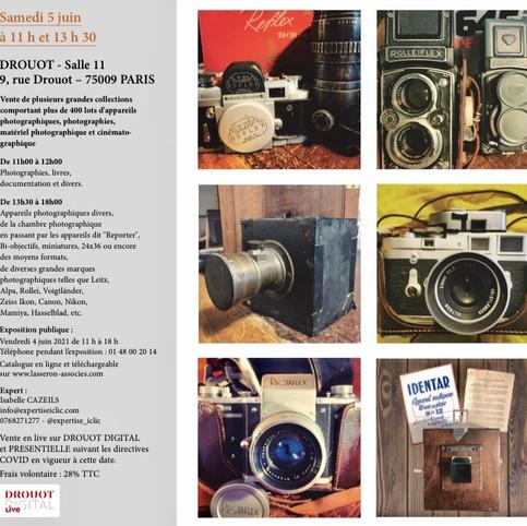 Vente Photographie et Appareil Photographique. Samedi 5 Juin 2021, à partir de 11h à l'Hôtel des Ventes Drouot Paris.