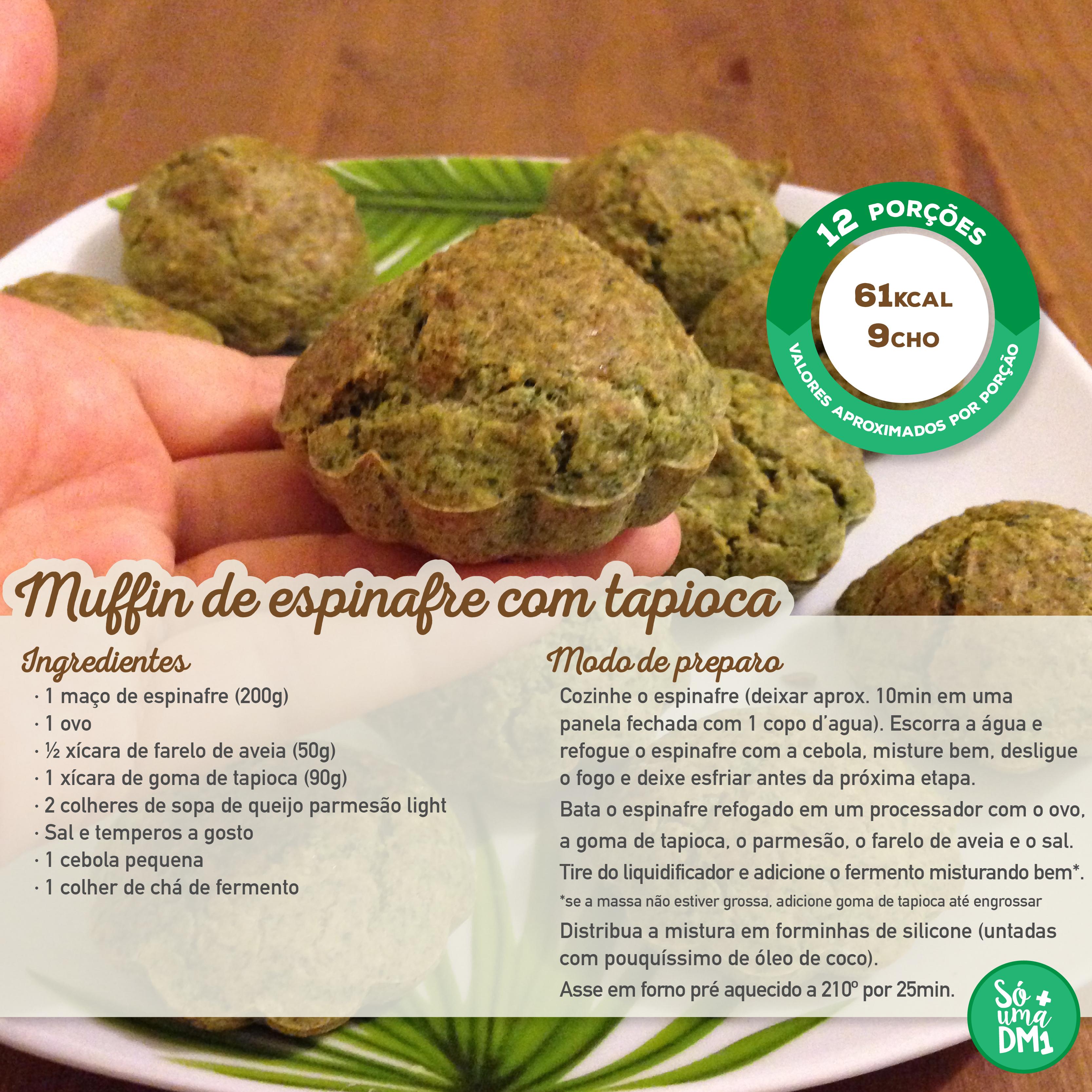 Muffin de espinafre com tapioca