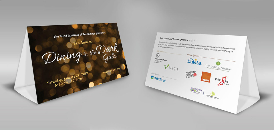 Dining in the Dark Gala table tents