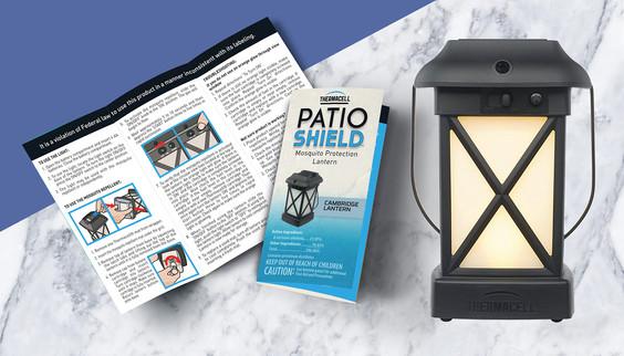 Patio Shield brochure and lantern