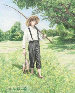 The Barefoot Boy Going Fishing