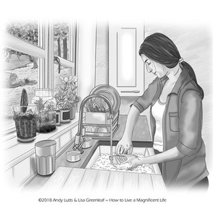 Mindfully Washing Dishes— Illustration for the How to Live a Magnificent Life book