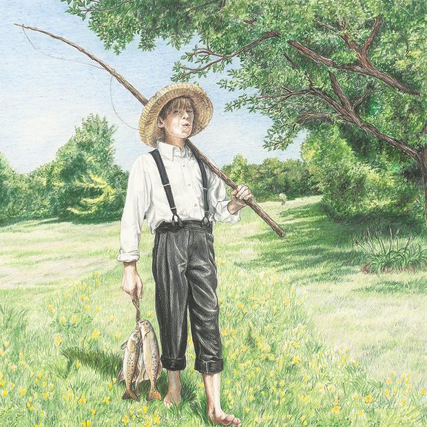 John Greenleaf Whittier's The Barefoot Boy book interior illustration