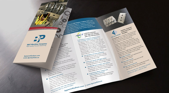 B&P Machine Co. tri-fold brochure