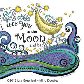 I love you to the Moon and back doodle