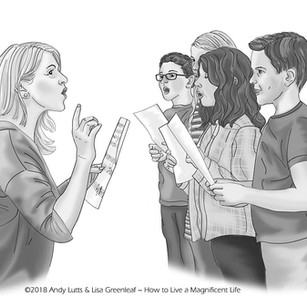 Kerry Teaching Kids to Sing — Illustration for the How to Live a Magnificent Life book