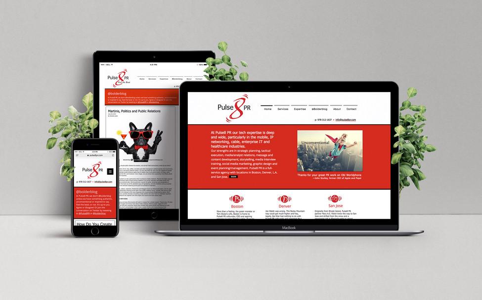 Pulse8 PR website, responsive website & blog