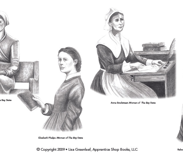 Woman of the Bay State book. Interior illustrations