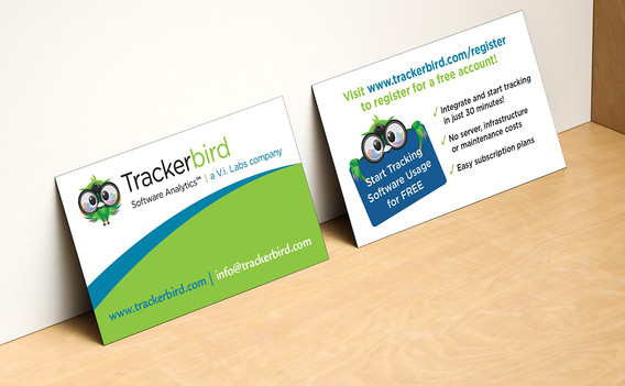 Trackerbird Information cards for trade show