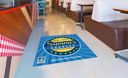 Floor stickers for UMass Lowell summer courses,