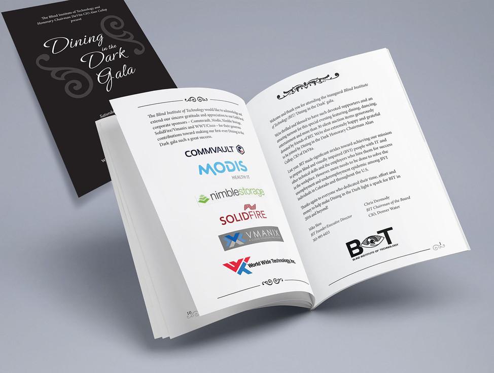 BIT Dining in the Dark Gala Event program book